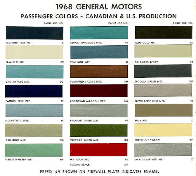 1968 canadian color chart