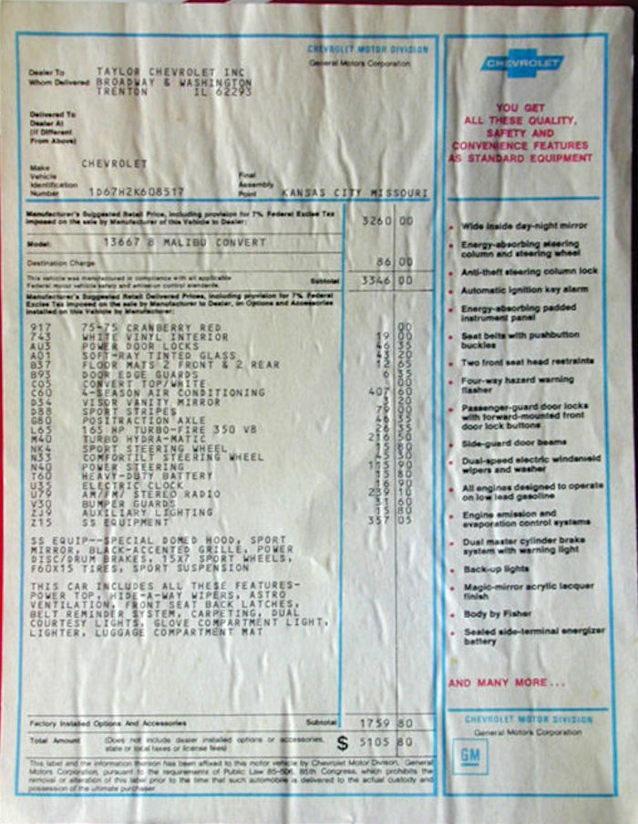 1972 Chevelle Miscellaneous Paperwork