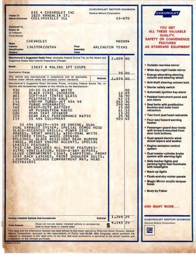 Chevelle Orphaned Paperwork